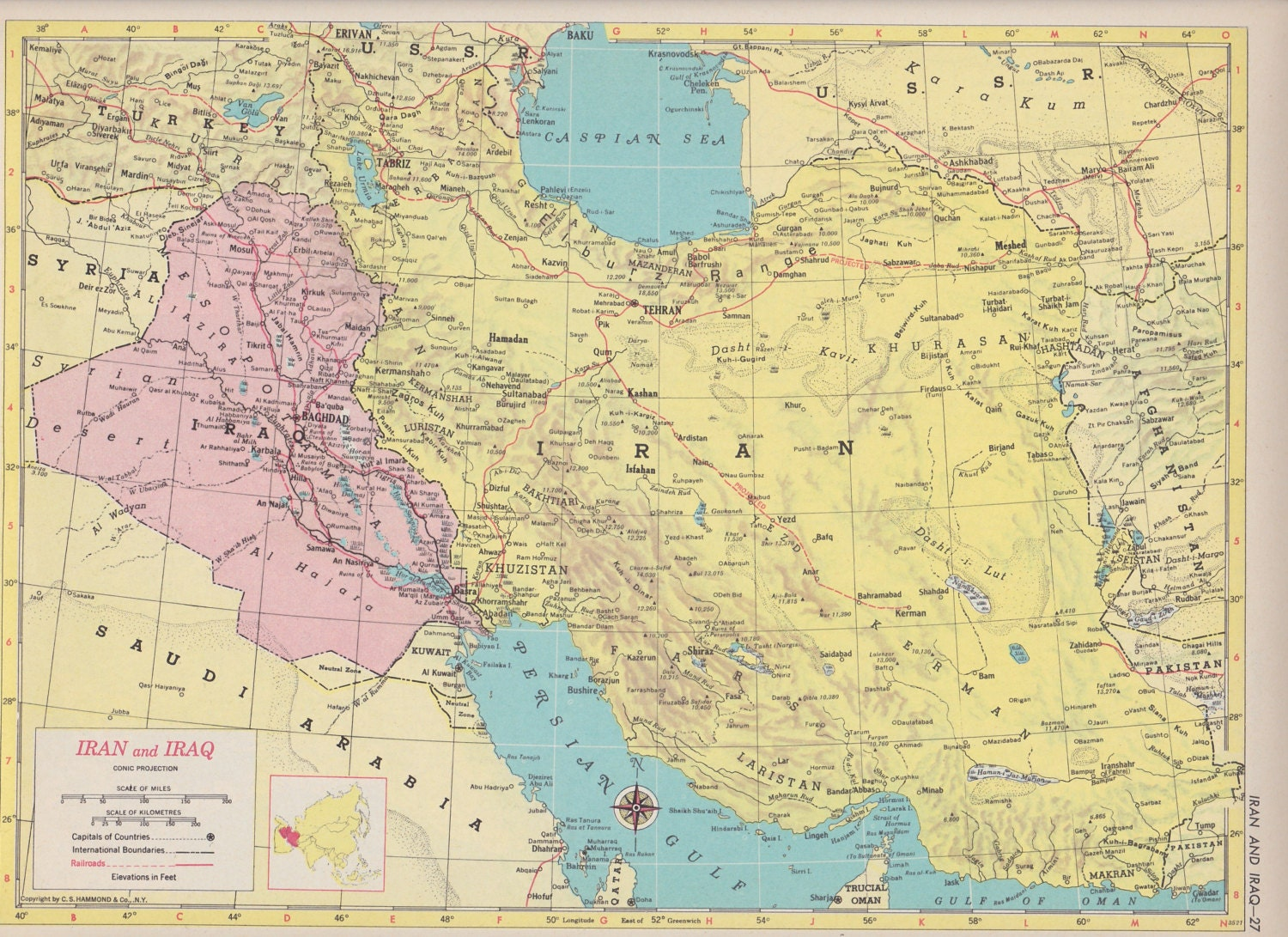 Off Estate Sale Vintage Map Art Map Of Iran  Iraq S Mid - Map of usa for sale