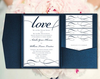 "DIY Pocket Wedding Invitations ""It's Love"" Navy Blue Printable Pocketfold Templates All Colors All Seasons Make Your Own  DIY U Print"