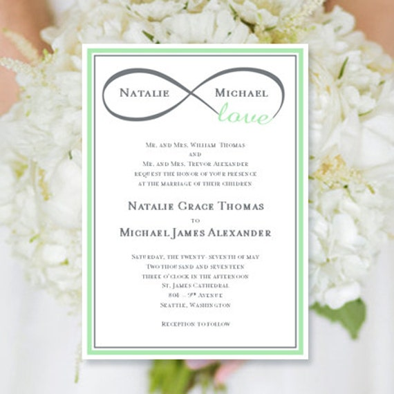 Wedding Invitation Infinity Love Mint Green Gray Printable Template Edit Microsoft Word Instant Download ALL COLORS DIY You Print