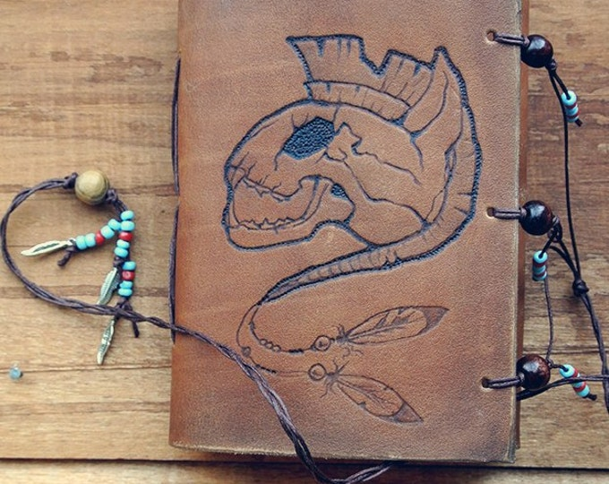 """notebook of natural leather """"cat out of the tribe of the Iroquois"""""""