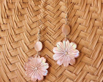 Carved Mother of Pearl Tropical Flower Earrings With Oval Shaped Mother of Pearl Bead