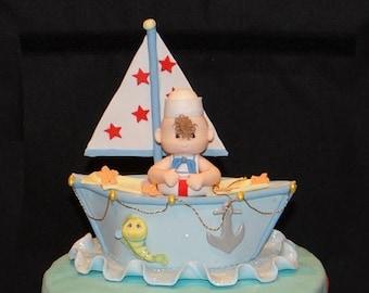 Nautical Baby Shower Cake Topper, Nautical Favor, Sailor Cake topper, Nautical Party, Nautical Birthday Decorations, Nautical Decorations
