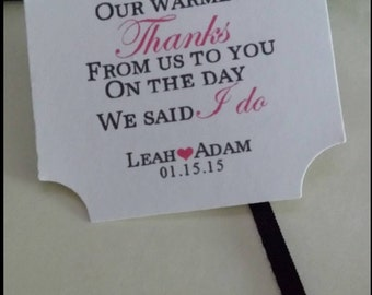 Warmest Thanks Wedding Favor Tags PERSONALIZED Hang Tags Thank you Square Tags