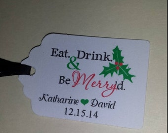 Christmas Wedding Favor Tags Eat Drink Be Merry d Thank You Personalized Scalloped Gift Tag