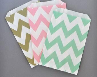 Paper Favor Bags - Paper Favor Bags - Chevron Favor Bags Candy Bags - Mint Green Favor Bags - Pink Favor Bags 2|(EB2358CD) - set of 24