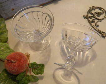 Set of 6 Beautiful Antique English Pressed Clear Glass Sherbets