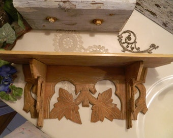 Vintage Hardwood Carved Wood Shelf
