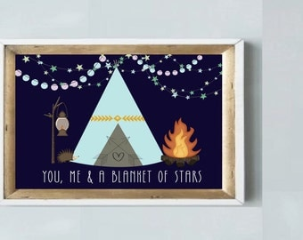 """SALE *** A gorgeous printable LOVE art print """"you, me & a blanket of stars"""" camping/mountains inspirational quote for home"""