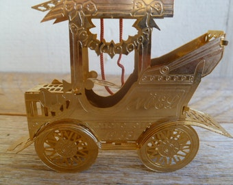Vintage Car Punched Metal Gold Tone Ornament