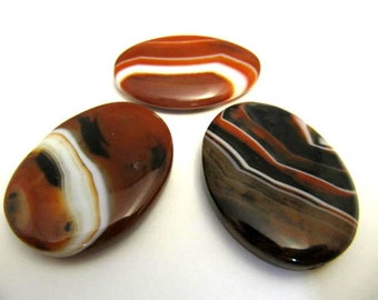 Gemstone Pendants, 30x40mm, Striped Agate, 3 Per Listing, Large Bead Pendant, Browns, Jewelry Pendant
