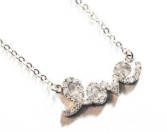 CZ Bridal Jewelry. White Gold Necklace 389NR. LOVE in cubic zirconia. CZ bling. Honeymoon Necklace. Wedding jewelry. Romance