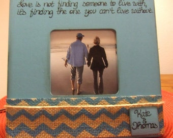 Valentine's Day frame Valentine's GIFT with quote Personalized frame for couples Turquoise frame Chevron Burlap frames Romantic frames Love