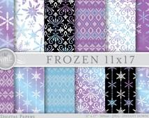 "FROZEN Digital Paper Pattern Prints ""Frozen Winter"", Instant Download, 11"" x 17"" Frozen Theme Paper Pack Patterns Scrapbook Print Snowflakes"