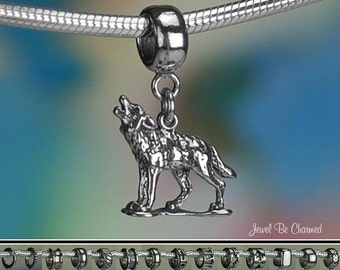 Howling Wolf Charm or European Style Charm Bracelet Sterling Silver