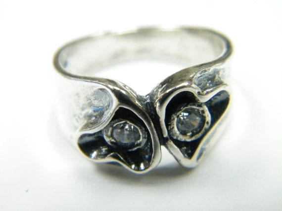 Sterling Silver Double Heart Swirl Ring By