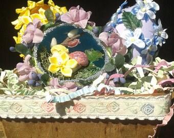 Floral Easter Eggs in Vintage Berry Basket
