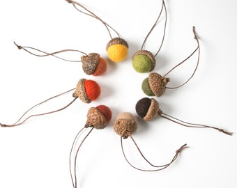 """Set of felted wool acorns in harvest hues.  8 Autumn colors, Fall decor.  Large caps approximately 1"""" diameter"""