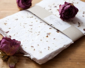 Handmade paper with rose petals