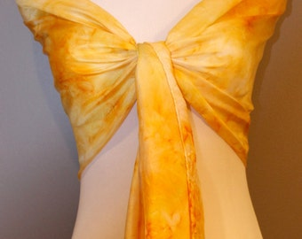 "Hand painted silk scarf  abstract yellow 14""x72"""