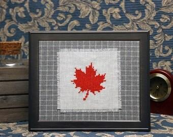 Maple leaf cross stitch art