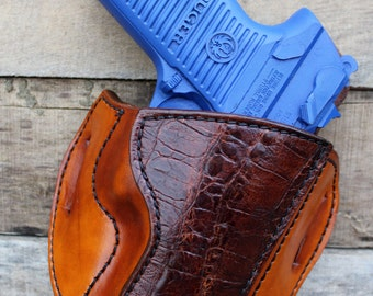 HANDMADE Leather Holster with Caiman Belly for Ruger P89 by Tin Badge Leather