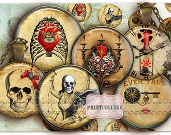 Digital Collage Sheet - Gothic - Cabochon images 1.5inch 18mm 14mm 1inch circle Printable images Instant download bottle caps C132