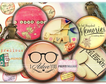 Digital Collage Sheet - Memories - Cabochon images 1.5 inch 18mm 14mm 1inch circle Printable images Instant download bottle caps c161