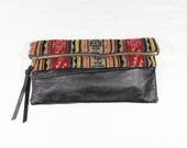 Repurposed Leather & Vintage Multicolor Geometric Wool Clutch