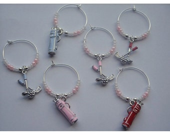 Golf Themed Wine Glass Charms