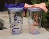Set of 2 Personalized Name Tumblers - Super Cute - Choose Fonts and Colors - Great Gift - Decorated with Name and Polka Dots Customizable