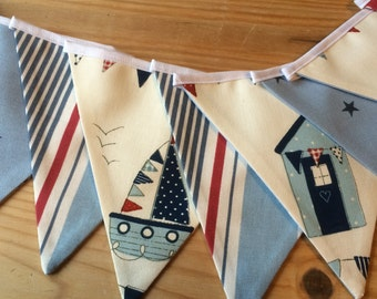 Nautical Bunting Red White Blue Seaside Beach Hut Boys Bedroom Nursery