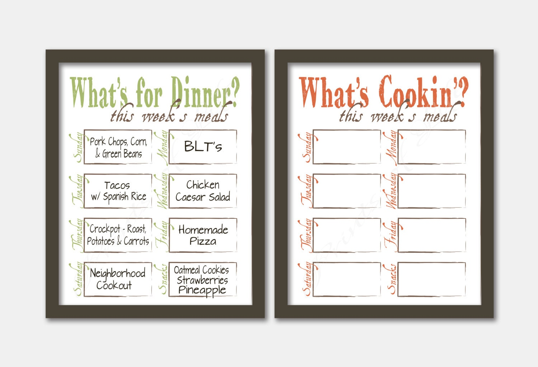 printable dinner planner