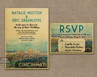 Cincinnati Wedding Invitation - Printable Vintage Cincinnati Ohio Wedding Invites - Ohio Skyline Retro Wedding Suite or Solo VTW