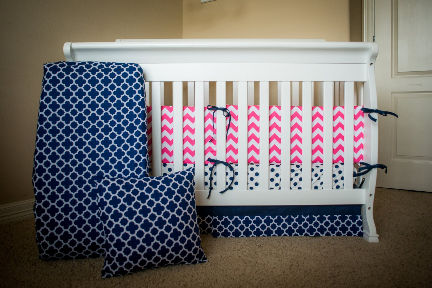 navy and pink baby bedding crib set by suitebaby on etsy. Black Bedroom Furniture Sets. Home Design Ideas