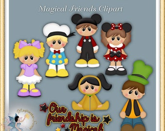 Magical Friends clipart, Digital Scrapbook elements for Commercial Use