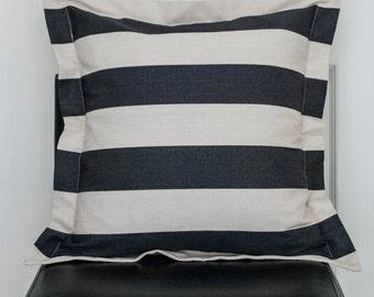 Cotton canvas striped pillow case 20 x 20 pillow case, pillow cover, cushion cover