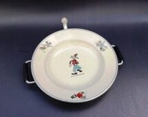 Vintage 1960s children's hot water plate Disney's Goofy