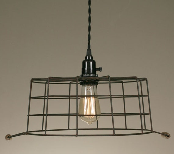 Wire Basket Pendant Lamp Green/Rust By NorthupGallery On Etsy