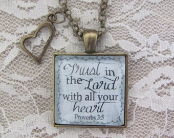 """Bible Verse Pendant Necklace """"Trust in the Lord with all your heart."""" Proverbs 3:5"""