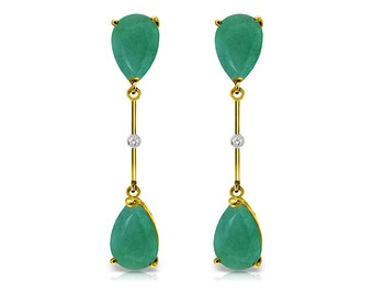 14k. Solid Gold Dangling Earrings with Diamonds & Emeralds (Yellow Gold, White Gold, Rose Gold)