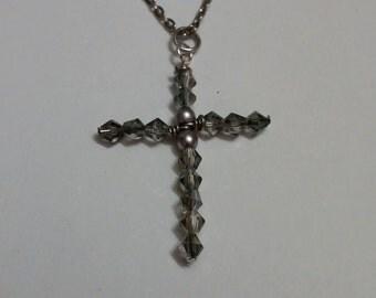 Silver Swarovski Crystal Handmade Cross Necklace