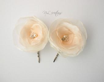 hair accessories, Peach Ivory Flower Hair Bobby pins, Flower Hair Pins, Bridal Hair Pins, Bridesmaid Hairpins, Wedding hair pins,