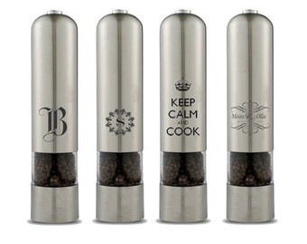 Personalized Electric Salt or Pepper Mill Grinder, Stainless Steel