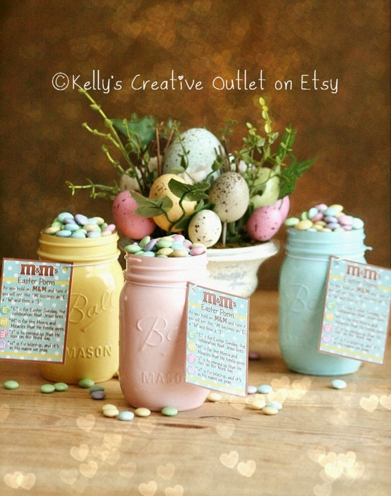 Easter decor distressed mason jars easter centerpiece like this item negle Gallery