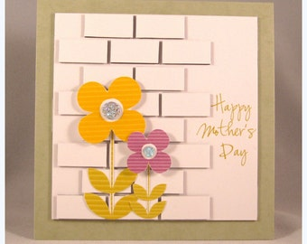 Brick wall background Mothers day card