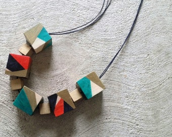 Hand drawn wooden cube necklace