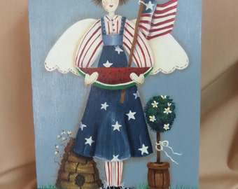 "Patriotic angel with ""Celebrate America' on freestanding tag with base"