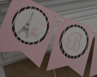 Paris Baby Shower Pennant Banner - Parisian Theme Banner - Paris Party - Paris Pennant Birthday Banner - Pink  -  Party Packs Available