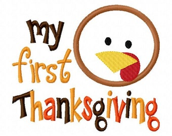 My First Thanksgiving Boy  Applique Design Machine Embroidery Design 4x4 and 5x7