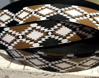 "7/8"" Preppy Brown White and Black Western AZTEC Grosgrain Ribbon sold by the yard"